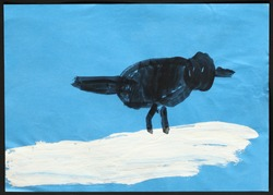 Original child's drawing of a black bird on white snow drawing by a five-year-old girl.