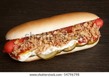 original danish hot dog stock photo 54796798 shutterstock. Black Bedroom Furniture Sets. Home Design Ideas