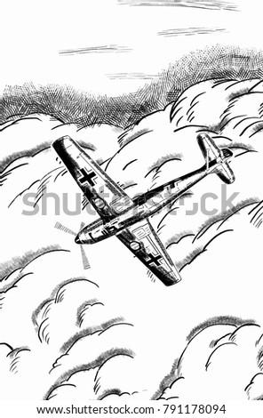 Original Digital Sketch World War 2 Vintage Aircraft German