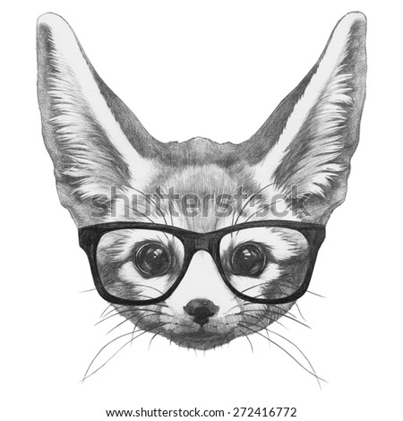 Stock Photo Original drawing of Fennec Fox with glasses. Isolated on white background