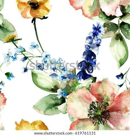 Original floral seamless background with flowers, watercolour illustration