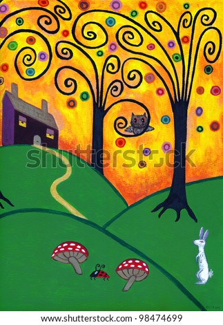Original Folk Art Painting oil on board, Whimsical Trees, House, Rabbit, Owl, and Ladybug, TerraceStudio