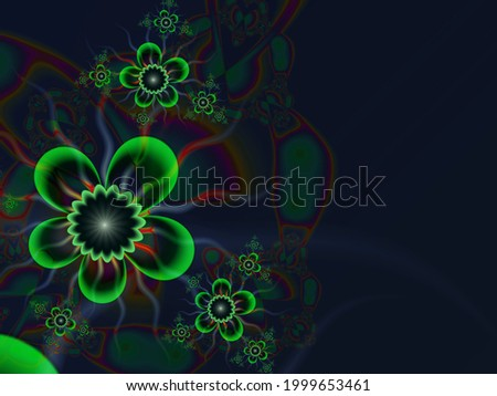 Original fractal image with green  flowers. Template with place for inserting your text. Fractal art as background.  Zdjęcia stock ©