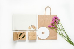 Original gift present. Craft photography packaging beautiful white wedding photobook,  flash drive in Handmade wooden box, cd disk. photo frame wedding concept