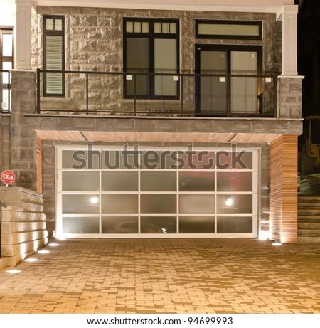 Original (glass) garage doors at the night (dick) time.