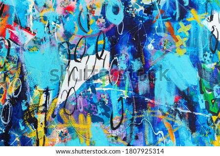 Original Hand drawn modern Multi Colored mixed media art canvas textured background . Abstract oil and acrylic painting creative collage of paper and puzzle pieces. Textured Contemporary Poster design