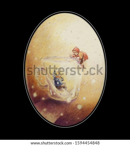 Original illustration. It is snowing, a child in a transparent glass cup, with an umbrella, looks at a little girl who climbs up the cup to join him inside. Inside oval frame and black background