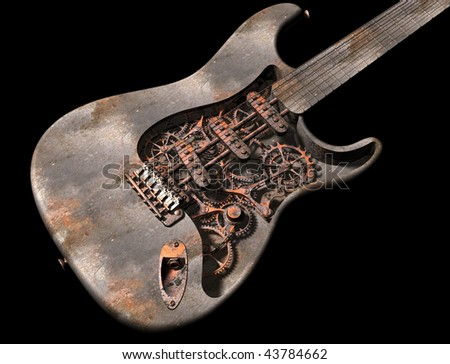 Original illustration of a dirty grungy steam punk guitar