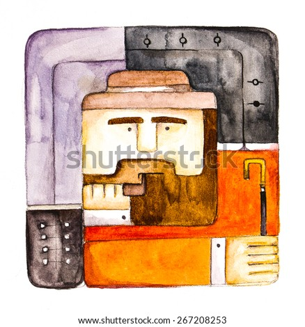 Original illustration of a man of middle age and intelligently profession - a doctor, a university professor, poet, writer, editor, and more. Hand drawing - watercolor on paper.