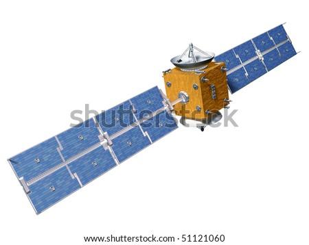 Original illustration of an isolated orbiting satellite