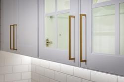 Original innovative kitchen cabinet handles. Kitchen design.
