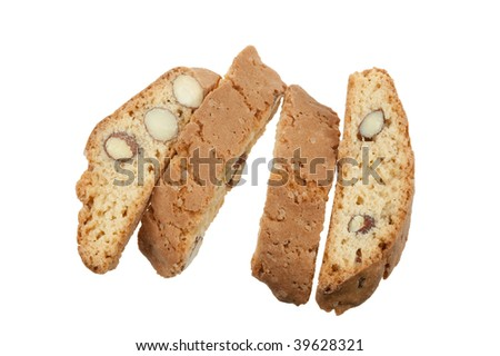original Italian crisp almond cookies isolated on a white background