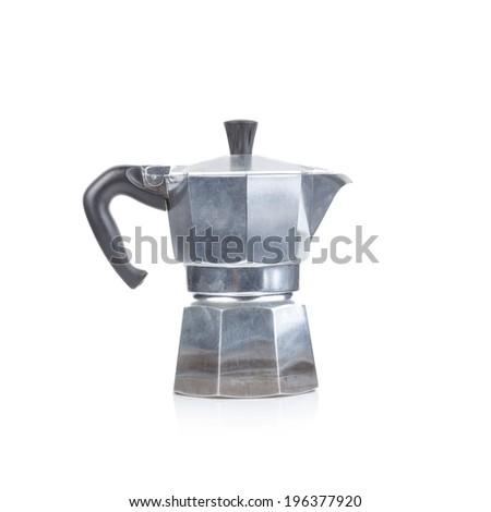 original italian Moka coffee pot isolated on white #196377920