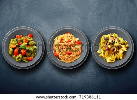 original italian pasta on wall background