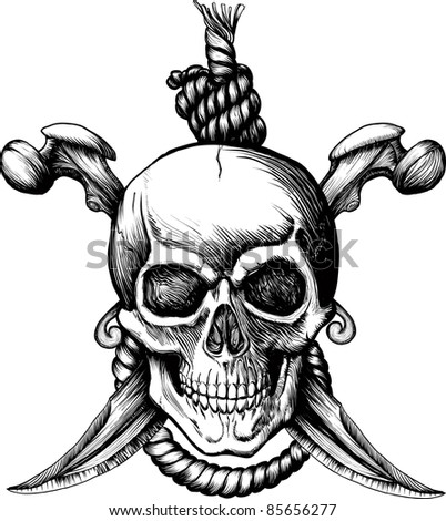 Original Jolly Rogger Skull with two knifes, bones and rope for hanging. Raster version