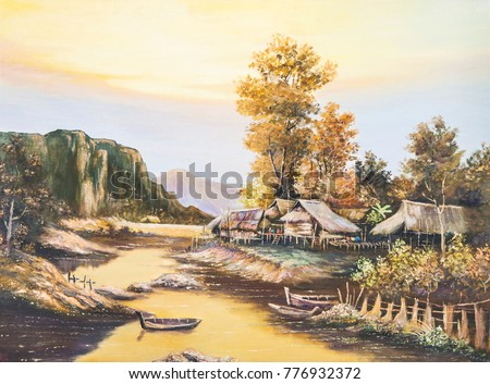 Stock Photo original landscape  oil painting on poor and small house in countryside in Asia, Thailand