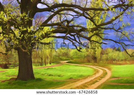 Original landscape painting of the giant oak, meadow and road.