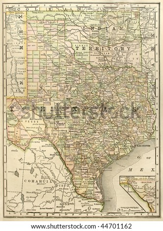 """Original map of Texas with Oklahoma as """"Indian Territory"""", dated 1889."""