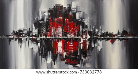 Original oil painting, an urbanistic artwork symbolizes society problems like overpopulation and pollution.