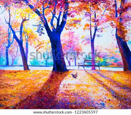 Original oil painting. Autumn landscape/ Modern art.