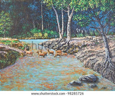 Original  Oil Painting - Deer in the forest
