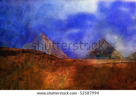 Original oil painting great pyramid of eygpt cairo