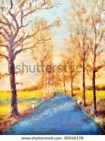 Original oil painting of a autumn road
