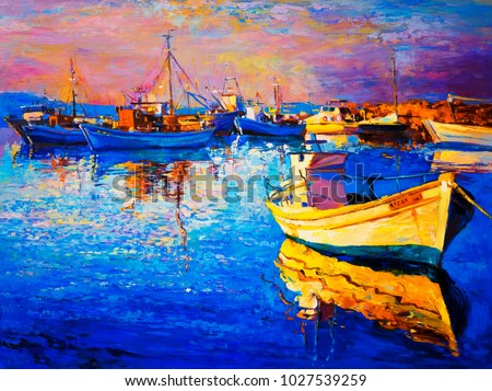 Original oil painting of a beautiful boat. Modern art.