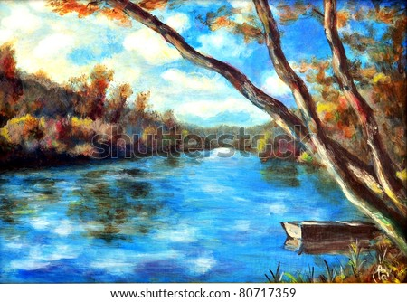 Original oil painting of a summer river