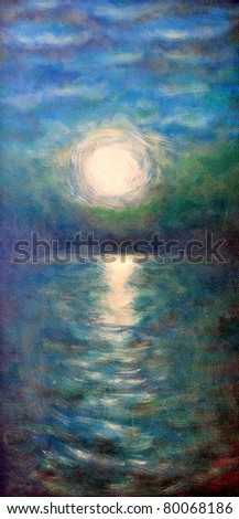 Original oil painting of a water and sun