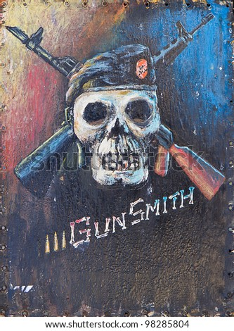 Original  oil painting of abstract gun smith