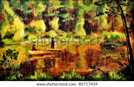 Original oil painting of an evening fishing - stock photo