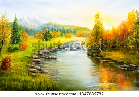 Original  oil painting of beautifl autumn landscape, forest,mountains  and river  on canvas.Modern Impressionism, modernism,marinism