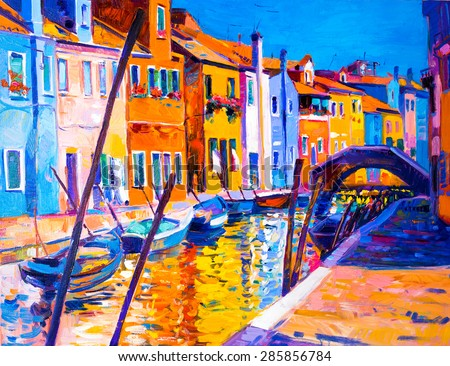 Original oil painting of beautiful Venice, Italy on canvas.Modern Impressionism by Nikolov