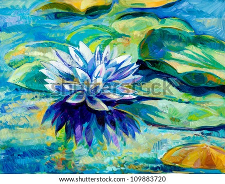 Original oil painting of beautiful water lily (Nymphaeaceae) on canvas.Modern Impressionism