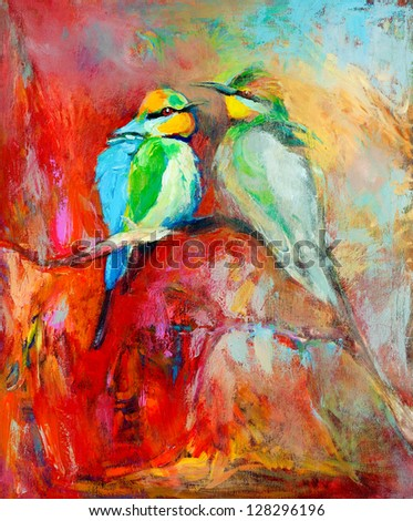 Original oil painting of blue tailed bee eaters song birds on canvas.Modern impressionism