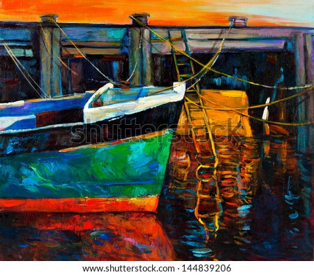 Original oil painting of boat and jetty pier on canvas.Sunset over ocean.Modern Impressionism