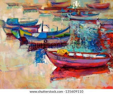 Original oil painting of boats and jetty pier on canvas.Sunset over ocean.Modern Impressionism