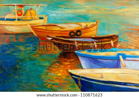 Original oil painting of boats and sea on canvas.Sunset over ocean.Modern Impressionism