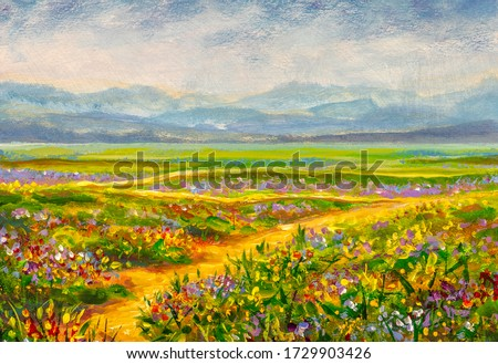 Original oil painting of country road in flowers fields on canvas.Modern Impressionism