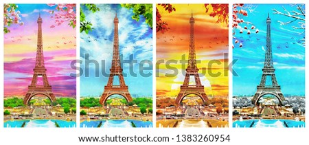 original oil painting of Eiffel tower in Paris, different  seasons, spring, summer, autumn, winter. Decoration for the interior. Modern abstract art on canvas. collection of painting in designer set.