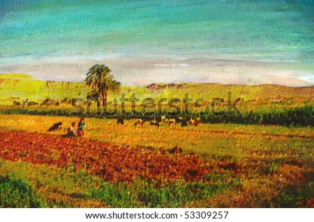 original oil painting of father and son in farm field