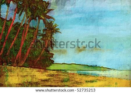 original oil painting of fiji island palm trees