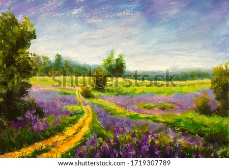 Original oil painting of flowers, beautiful purple wildflowers field flowers on canvas. Modern Impressionism. Impasto artwork.