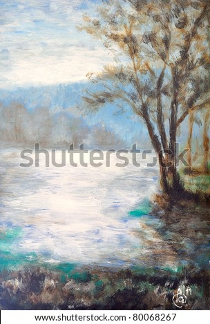 Original oil painting of landscape