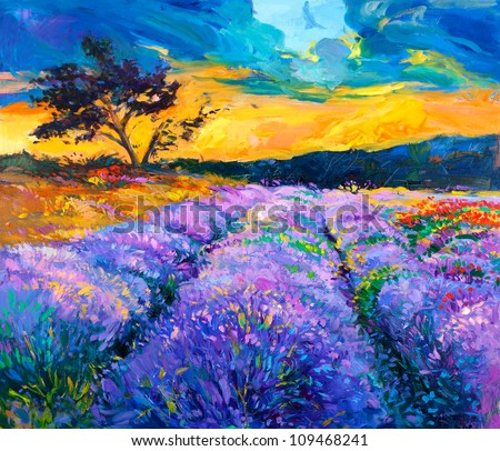 Original oil painting of lavender fields on canvas.Modern Impressionism