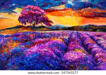 Original oil painting of lavender fields on canvas.Sunset landscape.Modern Impressionism