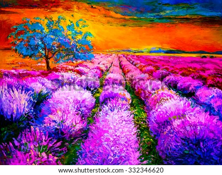 Original oil painting of lavender fields on canvas. Sunset over lavender field. Modern Impressionism