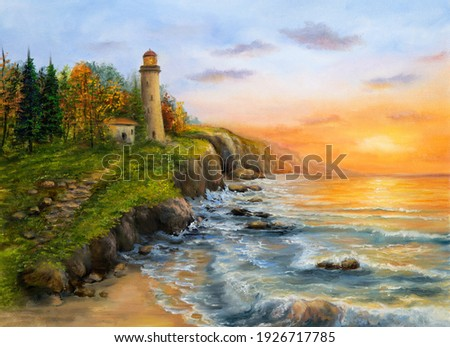 Original oil painting of  lighthouse and cliffs.Golden sunset over ocean coastline on canvas.Modern Impressionism