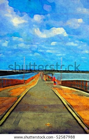 original oil painting of long pier on stretched canvas
